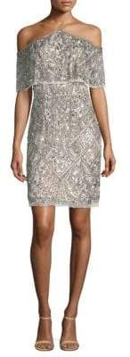 Aidan Mattox Beaded Cold Shoulder Dress