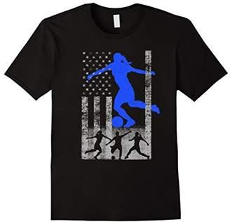 Soccer American Flag - Blue Female Soccer Player Flag Shirt