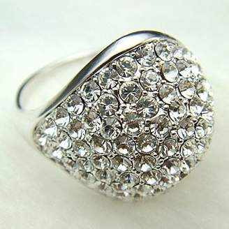 Ring Mantianxing 18k White Gold Plated Swarovski Crystal Lady R220 (brass-plated-gold, 6)