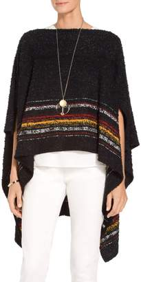 St. John Flagged Textural Placed Stripe Knit Cape
