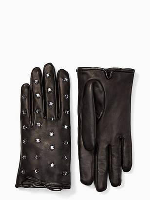 Kate Spade Bedazzled Leather Gloves, Black - Size L