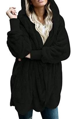Actloe Women Open Front Hooded Long Sleeve Cardigan Fleece Outwear with Pocket