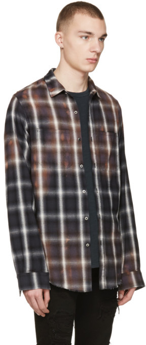 Amiri Black Spray Plaid Shirt 5