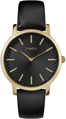 Timex Ladies Metropolitan Black Leather Strap Analog Watch
