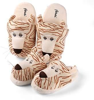Aerusi Tiger Plush Animal Set Mom and Child Combo Slippers
