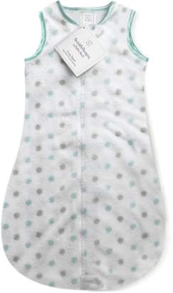 Swaddle Designs Microplush Sleeping Sack with 2-Way Zipper, SeaCrystal Sterling Dots; 6-12MO