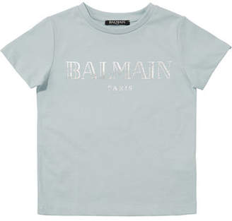 Balmain Kid's Short-Sleeve Logo Tee, Size 4-8