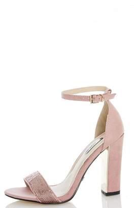 at Debenhams Quiz Baby Pink Sequin Block Heel Sandals
