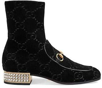 Gucci Women's Bit-Detail Velvet Ankle Boots - Black