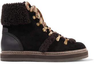 See by Chloe Shearling-trimmed Suede Ankle Boots - Brown