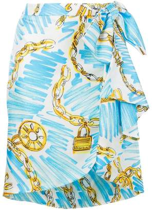 Moschino chain print wrap skirt