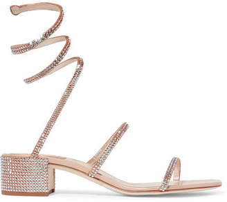 Rene Caovilla Cleo Crystal-embellished Metallic Satin And Leather Sandals