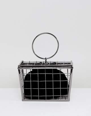 Asos Design DESIGN shopping basket cage clutch bag