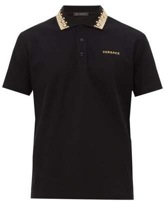 Versace Crown Embroidered Collar Cotton Pique Polo Shirt - Mens - Black