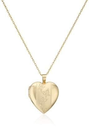14k Gold-Filled Satin and Polished Finish Hand Engraved Heart Shaped Locket Necklace