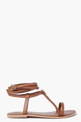 boohoo Boutique Wrap Strap Leather Ghillie Sandals