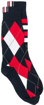 Thom Browne Argyle 4-Bar Mid-Calf Socks