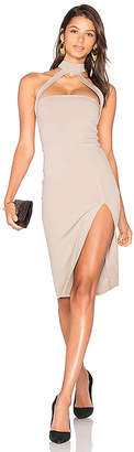 Donna Mizani Cut Out Strapped Mock Midi Dress