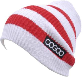 OOGOO BN105 Two-Tone Striped Pattern Beanie Various Color Acrylic Hat Cap Skull Ski NWT