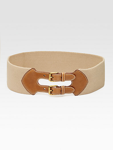 Prada Leather-Trim Elastic Belt