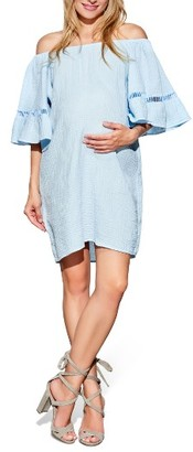 Women's Maternal America Off The Shoulder Maternity Dress $149 thestylecure.com