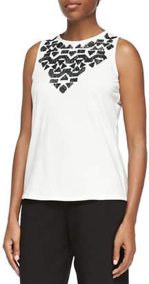 Joan Vass Sequined Sleeveless Shell, Plus Size