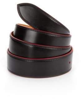 Corthay Red Trim Black Leather Belt