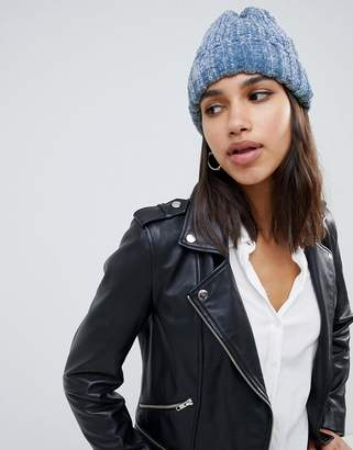 Asos DESIGN chenille rib turn up beanie