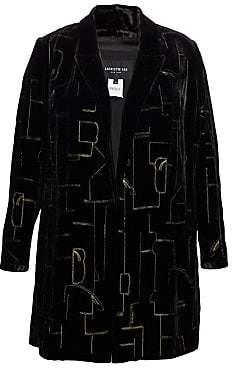 Lafayette 148 New York Lafayette 148 New York, Plus Size Lafayette 148 New York, Plus Size Women's Sivan Velvet Metallic Stitch Long Jacket