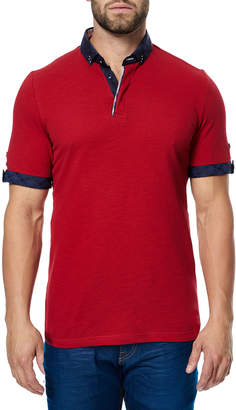 Maceoo Paisley-Trim Polo Shirt, Red