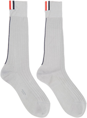 Thom Browne Grey Striped Socks $125 thestylecure.com