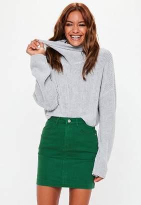 Missguided Green Superstretch Denim Mini Skirt