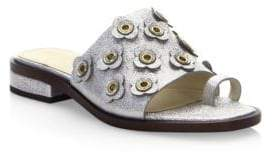 Cole Haan Carly Silver Floral Sandals