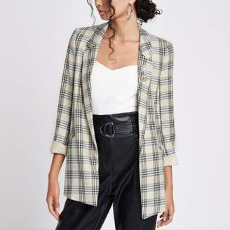 River Island Cream check ruched sleeve brooch blazer