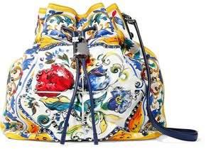 Dolce & Gabbana Embellished Floral-Print Canvas Bucket Bag
