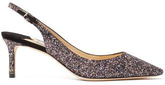 Jimmy Choo Erin 60 Slingback Glitter Embellished Pumps - Womens - Black