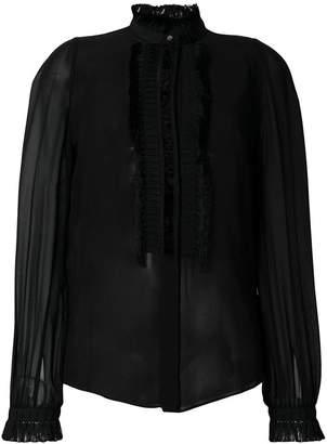 Roberto Cavalli pleated sheer blouse