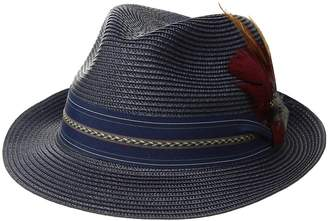 Stacy Adams Poly Braid Pinch Front Fedora with Fancy Band Caps