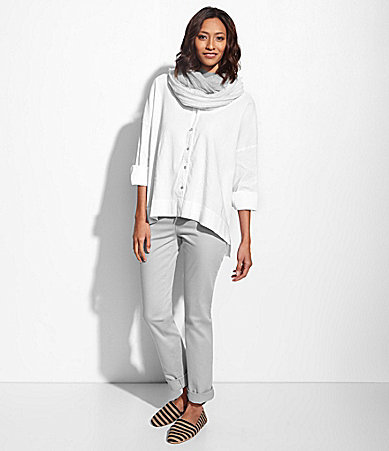 Eileen Fisher Classic Collar Shirt, Colored Jeans & Map Canvas Smoking Slippers