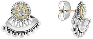 Lagos 18K Gold and Sterling Silver Signature Caviar Diamond Ear Jackets