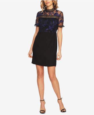 CeCe Embroidered Mesh Sheath Dress
