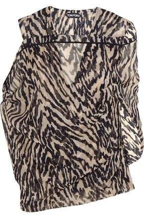 Tom Ford Tiger-Print Silk-Georgette Blouse