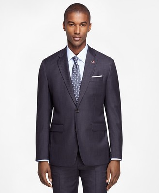 Brooks Brothers Milano Fit Saxxon Wool Grey with Blue Stripe 1818 Suit