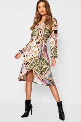 boohoo Floral Print Wrap Front Midi Dress