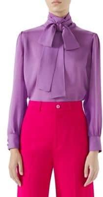 7de6addb51c7c Gucci Women s Silk Satin Blouse - Violet Orchid - Size 44 ...