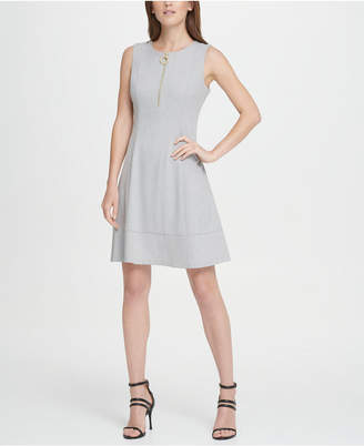 DKNY Lux Zip Front Fit Flare Dress