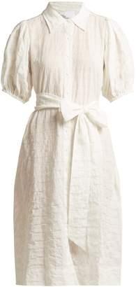 Lisa Marie Fernandez Puff-sleeved cotton-blend seersucker shirtdress
