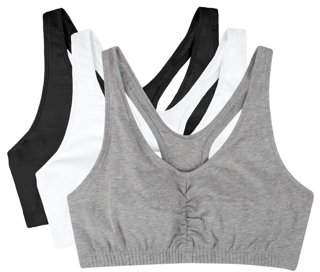 Fruit of the Loom Womens Shirred Front Tank Racerback Sports Bra, Style FT170, 3-Pack