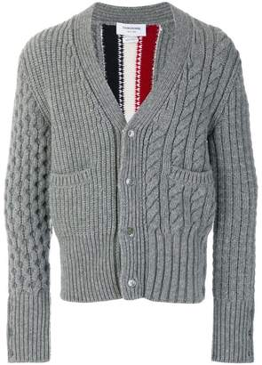 Thom Browne Intarsia Stripe Fun-Mixed Cable Fine Merino Wool Classic V-Neck Cardigan