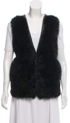Tory Burch Faux Fur Wool Vest